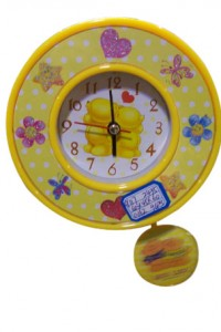 CL-25 yiwu yellow color lovely clock decoration