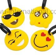 Yiwu PVC Soft Plastic Baggage Licensing Boarding Pass Smiley Face Luggage Tag Plastic Bags Tag Customized